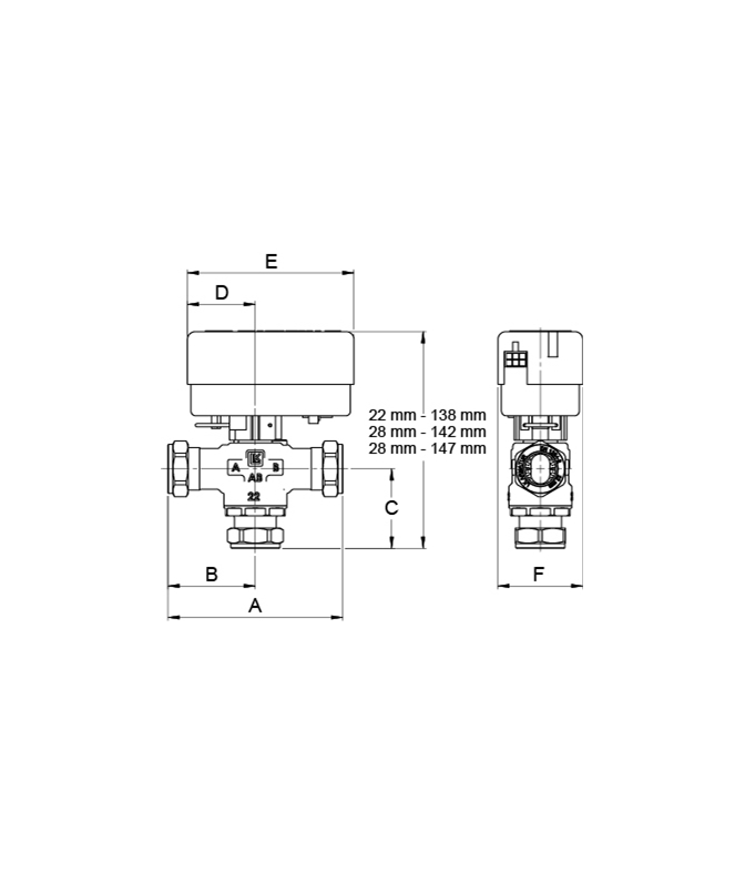 LK 525 3W - Compression fitting Measurement drawing (LKA)