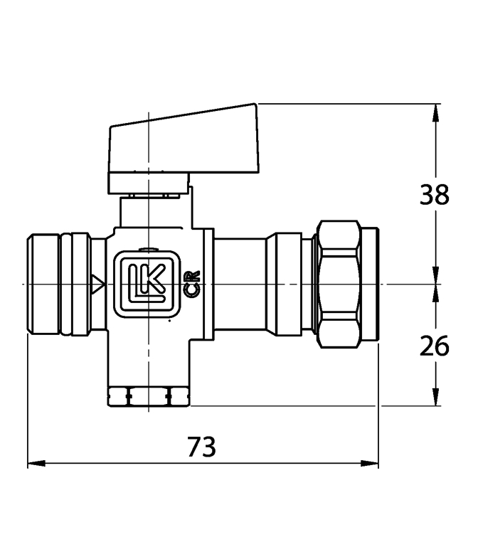 LK 538 - Male thread / Compression fitting  Measurement drawing (LKA)