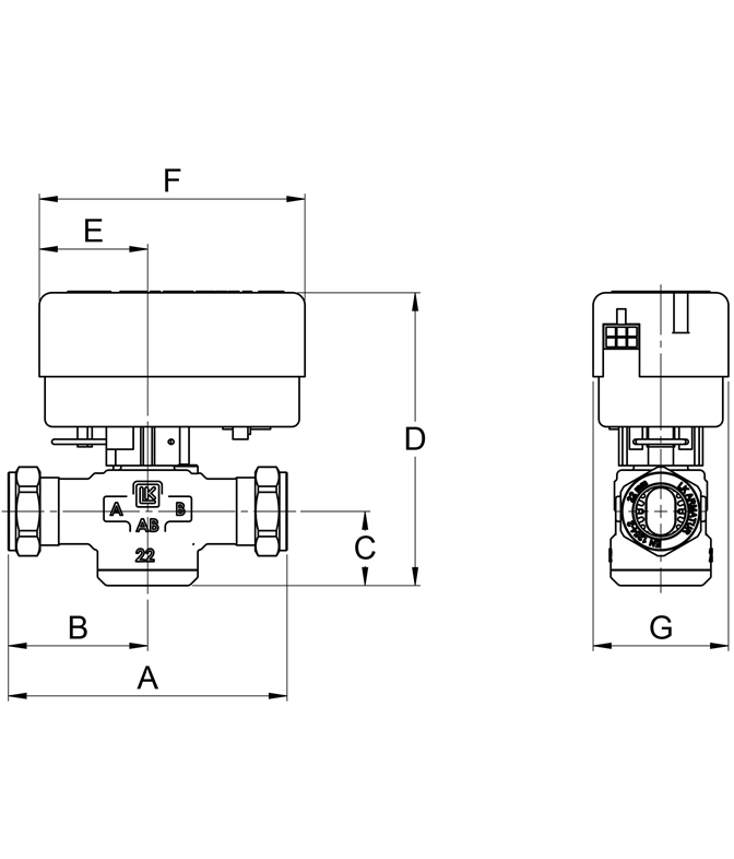 LK 525 2W - Compression fitting Measurement drawing (LKA)