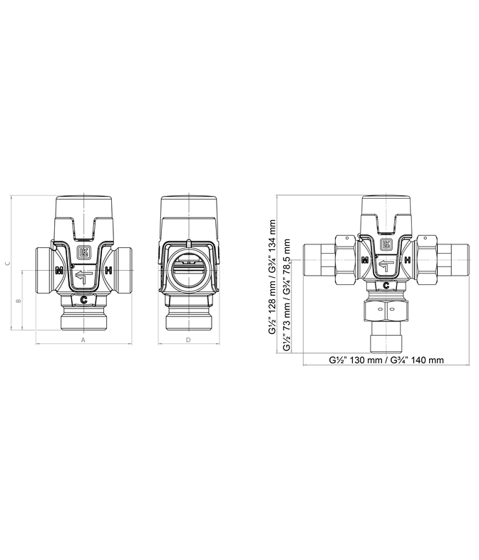LK 551 - Male thread  Measurement drawing (LKA)