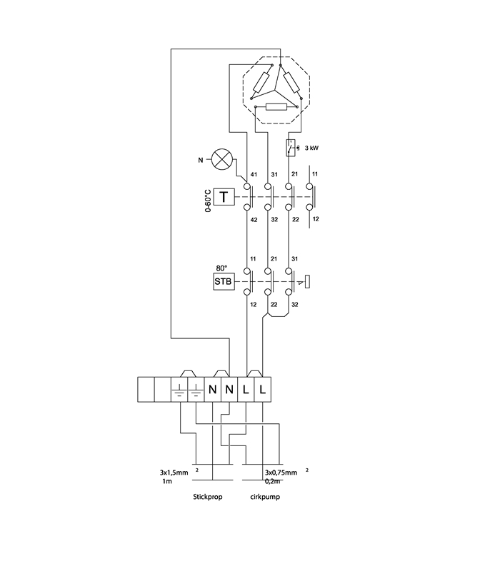 LK 440 EasyHeat Application image Electric connection diagram, Model 298 588