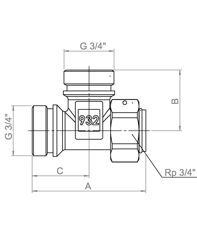 LK 932 - Male / Rotating nut Measurement drawing (LKA)