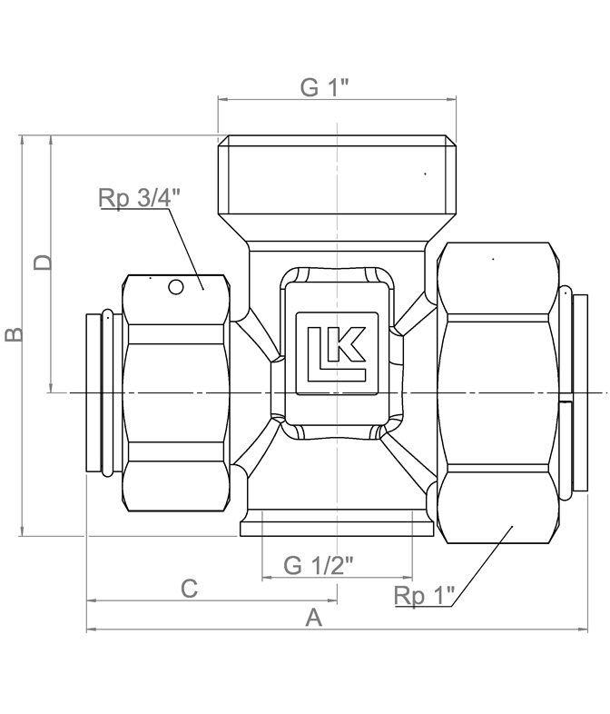 LK 934 - Male / Rotating nut / Female Measurement drawing (LKA)