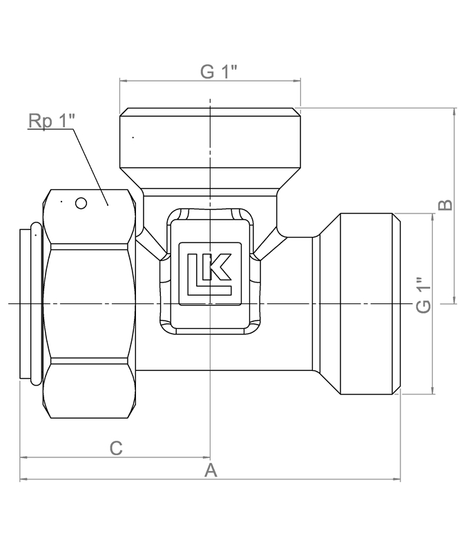 LK 935 - Male / Rotating nut Measurement drawing (LKA)