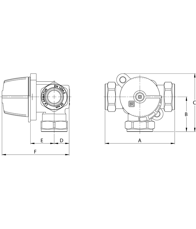 LK 840 2.0 - Compression Fitting Measurement drawing (LKA)