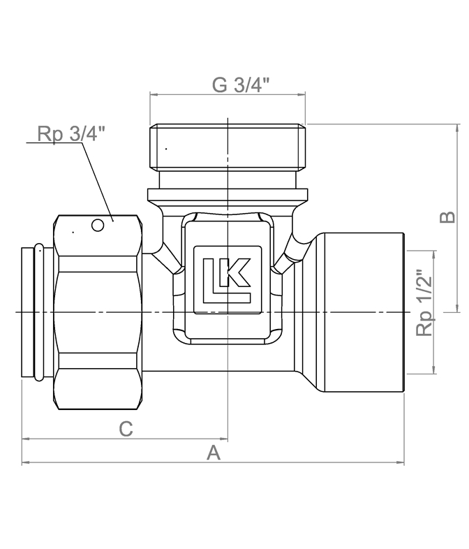 LK 936 - Female / Male / Rotating nut  Measurement drawing (LKA)