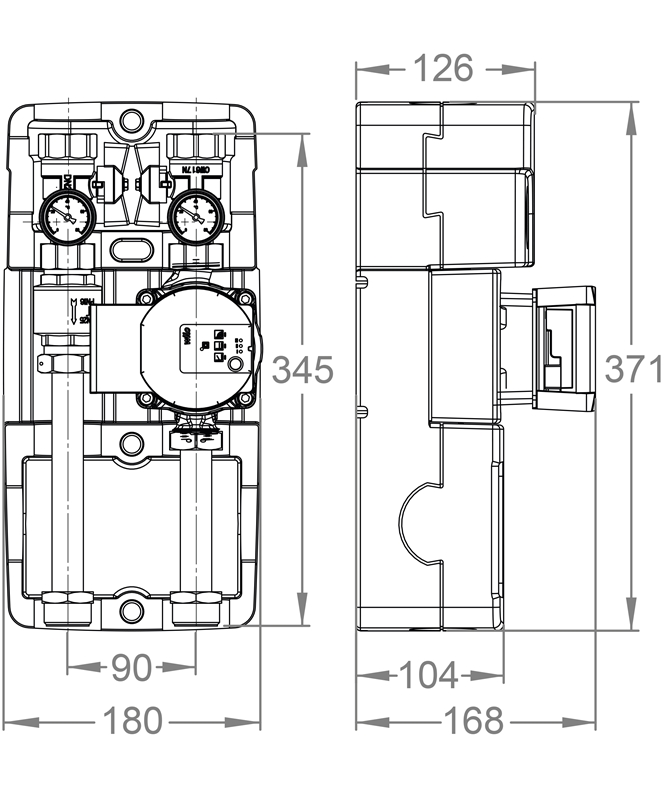 LK 861 HydronicGroup 90 Measurement drawing (LKA)
